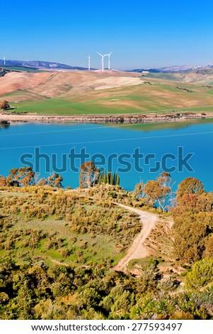 Guadalhorce-Guadalteba reservoir in mountains. Andalusia, Spain - stock photo