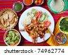 Guajillo chili shrimps Mexican dish chili sauces nachos  Mexico seafood - stock photo