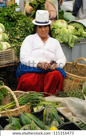 GUALACEO, ECUADOR - AUG 22: Ecuadorian ethnic women in national clothes selling agricultural products and other food items on a market in the Gualaceo village on August 22, 2012 in Gualaceo - stock photo