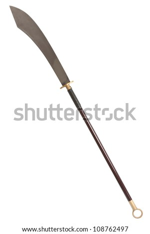 Guan Dao Kwan Dao or Kuan Tao Chinese pole weapon reclining moon blade isolated on white background with clipping path - stock photo