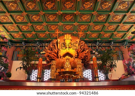 Guan Yin 1,000 hand,Chainess Temple,Bangkok,Thailand. - stock photo
