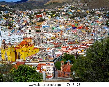 GUANAJUATO, GUANAJUATO/MEXICO - FEBRUARY 17: Guanajuato World Heritage Site, historic city view of 16th century buildings and houses of vivid colors shown on February 17, 2010 in Guanajuato, Mexico - stock photo