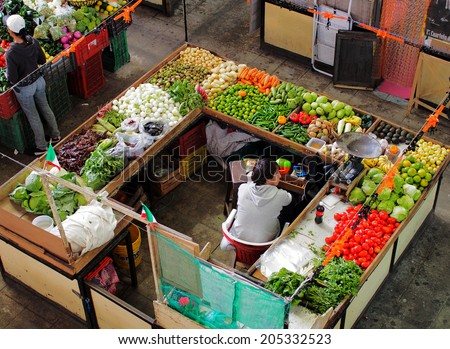 GUANAJUATO, MEXICO - OCTOBER 26, 2013: Market in the city of Guanajuato, the World Heritage Site (1988).  The city has about 170,000 population. - stock photo