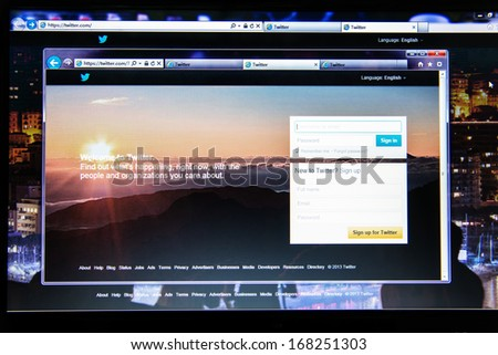 """Guangdong, China - Oct 04, 2013: Photo of a PC screen, showing Twitter website homepage, Twitter is an online social networking and microblogging service that enables users to send and read """"tweets"""". - stock photo"""