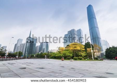 GUANGZHOU, CHINA - APR 8.:Modern skyscrapers in Guangzhou on Apr 8, 20165. Guangzhou is one of the major economic cities in China - stock photo