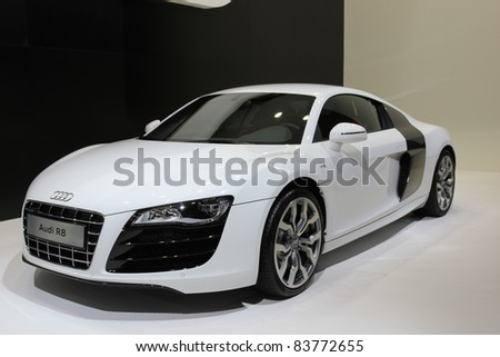 GUANGZHOU, CHINA - DEC 27: AN Audi R8 car on display at the 8th China international automobile exhibition on December 27, 2010 in Guangzhou China. - stock photo