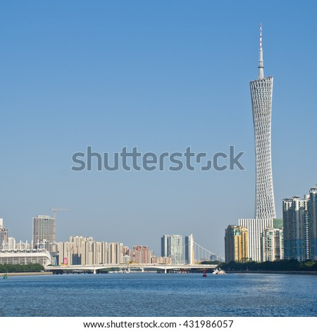 GUANGZHOU, CHINA -DEC.6: Guangzhou skyline and pearl river in daytime on Dec. 6, 2015 in Guangzhou. - stock photo