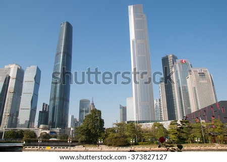Guangzhou, China - January 25, 2016: cityscape with skyscrapers and business centers in Guangzhou. Guangzhou is one of the important economic cities in China - stock photo