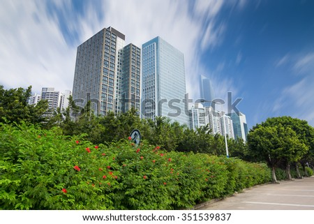 GUANGZHOU, CHINA - Modern skyscrapers in Guangzhou . Guangzhou is one of the major economic cities in China - stock photo