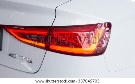 GUANGZHOU,CHINA - NOV 8:Audi A3 car taillight on Nov 8, 2015 in Guangzhou. This is a famous car brand. - stock photo