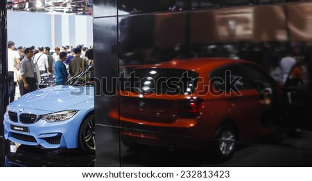 GUANGZHOU, CHINA - NOV. 22. 2014: BMW stand during the 12th China International Automobile Exhibition in Guangzhou, Guangdong province. - stock photo