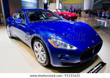 GUANGZHOU, CHINA - NOV 26: Maserati GranCabrio Sports car on display at the 9th China international automobile exhibition. on November 26, 2011 in Guangzhou China. - stock photo