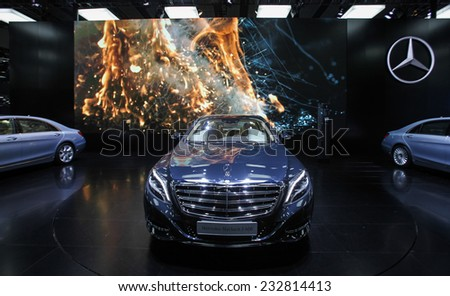GUANGZHOU, CHINA - NOV. 21. 2014: Mercedes Maybach S600 at its premiere during the 12th China International Automobile Exhibition in Guangzhou, Guangdong province. - stock photo