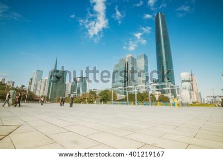 GUANGZHOU, CHINA - NOV 26.:Modern skyscrapers in Guangzhou on Nov 26, 2015. Guangzhou is one of the major economic cities in China - stock photo