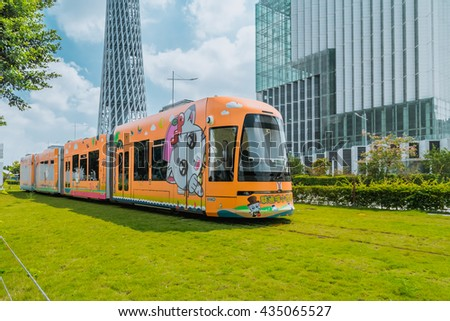 GUANGZHOU, CHINA - OCT 8: The new tram system on Oct 8, 2015 in Guangzhou,This is a new traffic system,Start running on January 1, 2015 - stock photo