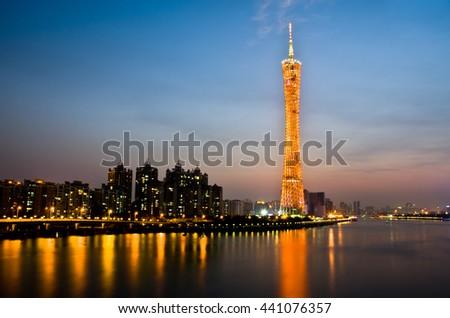 Guangzhou,October, 2014--The night scene of Guangzhou tower in Guangzhou, Guangdong of China. - stock photo