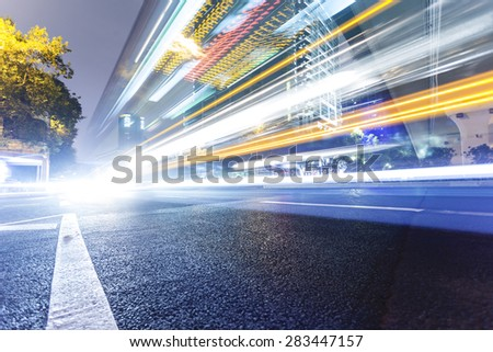 Guangzhou road, light trails - stock photo