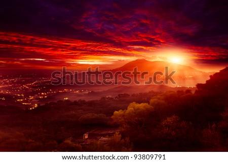 Guanyin Mountain Sunrise, the new Taipei, Taiwan - stock photo