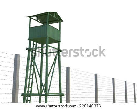 Guard Tower on a white background - stock photo