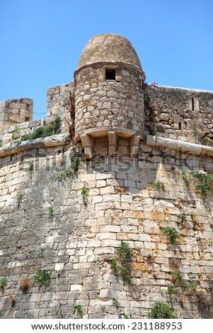 Guard turret in the medieval Fortezza in Rethymnon (Rethymno), Crete, Greek Islands, Greece, Europe, JUNE, 17, 2013 - stock photo