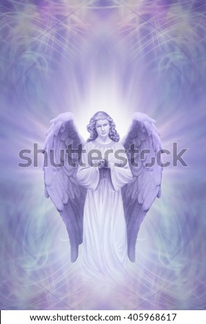 Guardian Angel on Ethereal lilac blue  background - praying angel with white aura  around head on an intricate blue lilac energy field background with of copy space above - stock photo