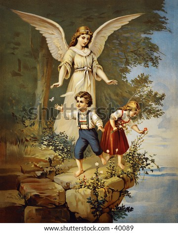 Guardian angel protecting children near a cliff - an early 1900s vintage illustration - stock photo