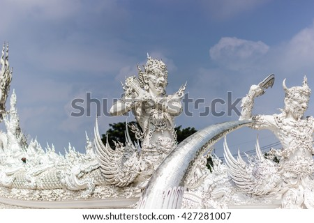 Guardians of the White Temple, Thailand  - stock photo