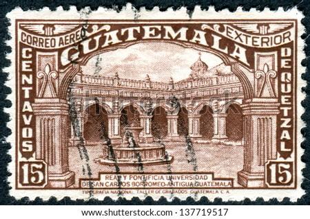 GUATEMALA - CIRCA 1943: Postage stamp (airmail), Guatemala, shows University of San Carlos of Guatemala, circa 1943 - stock photo