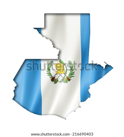 Guatemala flag map, three dimensional render, isolated on white - stock photo