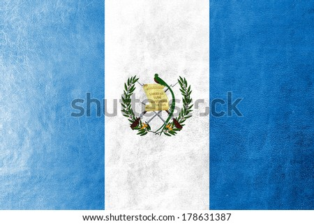 Guatemala Flag painted on leather texture - stock photo
