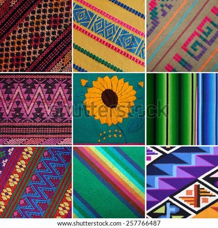 Guatemalan woven blankets and fabrics. - stock photo