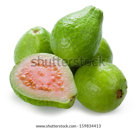 Guava. Group with a half on white - stock photo