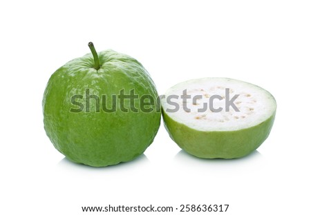 Guava (tropical fruit) isolated on white background. - stock photo