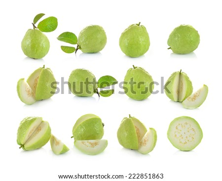 Guava (tropical fruit) on white background - stock photo