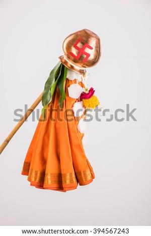 gudi or gudhi, errected on gudhi padwa or gudhi padwa. Gudi Padwa is a hindu or marathi new year. Isolated on white background - stock photo