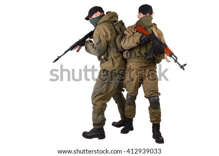 guerillas with AK 47 isolated on white background - stock photo