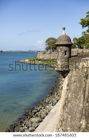 Guerite (or bartizan) is a watch tower in San Juan, Puerto Rico. - stock photo