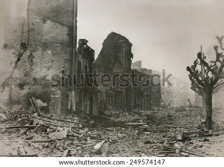 Guernica, after series of bombings by the Nationalists. During Spanish Civil War, on April 29, 1937, planes of the German Luftwaffe 'Condor Legion' and the Italian Fascist 'Aviazione Legionaria'. - stock photo