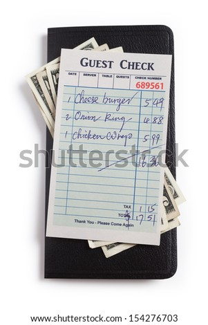 Guest Check and dollar, concept of restaurant expense. - stock photo