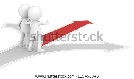 Guidance. 3D little human character X2 at a Crossroad. One Red. People series. - stock photo