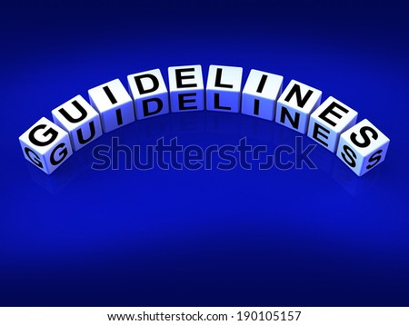 Guidelines Dice Showing Instructions Protocol And Policies - stock photo