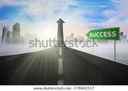 Guidepost with Success word pointing at the road turning into arrow upward symbolizing the road to success - stock photo