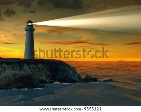 Guiding beacon from a lighthouse. Digital illustration. - stock photo