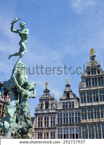 Guildhalls and fountain on the Great Market Square of Antwerp, Belgium - stock photo