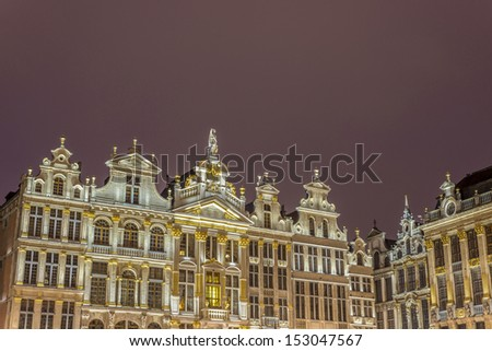 Guildhalls on Grand Place (Grote Markt), the central square of Brussels, it's most important tourist destination and the most memorable landmark in Brussels, Belgium. - stock photo