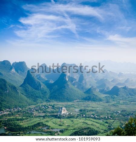 guilin hills,beautiful karst mountain landscape,China - stock photo