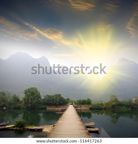 Guilin Landscape Sunset - stock photo