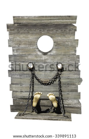guillotine isolate on white background, a dead instrument - stock photo