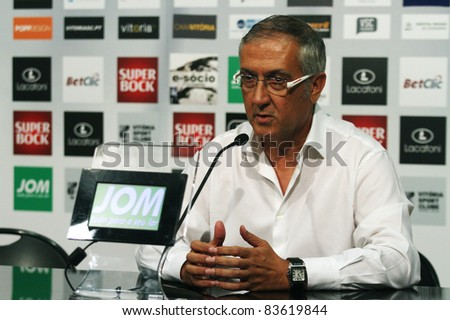 GUIMARAES, PORTUGAL - AUGUST 25: Gregorio Manzano, At.Madrid(ESP) Coach, at a press conference of a 2011\2012 UEFA Europa League match on August 25, 2011 in Guimaraes, Portugal - stock photo