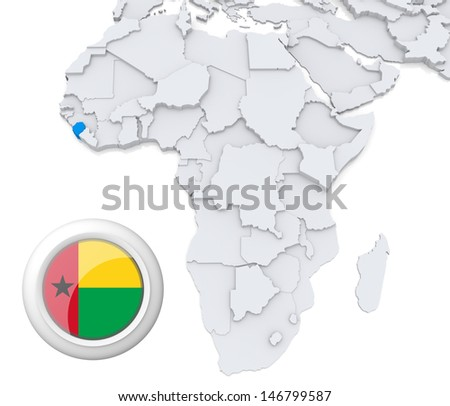 Guinea-Bissau with national flag - stock photo